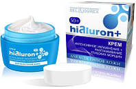 Крем для лица Интенсивное увлажнение+Разглаживание морщин 50+. Hialuron+. 48 г. BelKosmex.