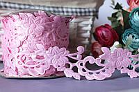 """Кружевная лента """"Цветочная вуаль"""", ширина 3,5 - 4 см, нежно-розового цвета"""