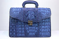 Портфель из крокодиловой кожи фактурный темно-синий