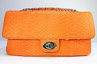 Сумка женская из кожи питона Chanel оранжевая