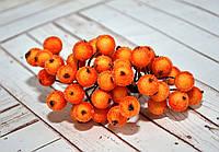Калина декоративная в сахаре, двусторонняя, на проволоке, 20 веток/40 ягод, цвет оранжевый