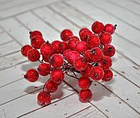 Калина декоративная в сахаре, двусторонняя, на проволоке, 20 веток/40 ягод, цвет красный