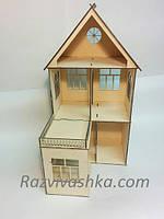 """Двухэтажный домик для кукол """"Глория"""" с балконом (без мебели) Pony, Winx (mini), Steffi, Evi (15 см)"""