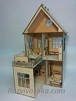 """Двухэтажный домик для кукол """"Глория"""" с балконом и мебелью для Pony, Winx (mini), Steffi, Evi (15 см)"""
