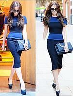 Платье Victoria Beckham темно синего цвета в синюю полоску с молнией сзади KM70002