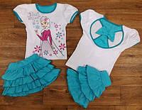 Летний костюм на девочку с юбочкой'' Elsa'', бирюза