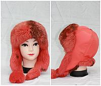 Детская меховая зимняя шапка из кролика, ушанка, от производителя, коралловая