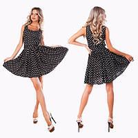 Платье Стильное штапельное беби-дол цвет чёрный в горошек