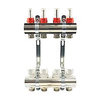 Коллектор латунный двойной с расходомерами и креплениями Санди, на 12 выходов (ХРОМ)