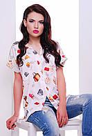 Женская летняя рубашка с модным принтом   белый