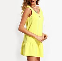 Платье мини женское без рукавов жёлтое 2016