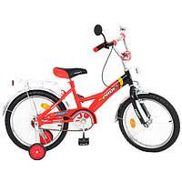 Велосипед PROFI детский 18 д. P 1836   красно-черный, звонок,приставные колеса