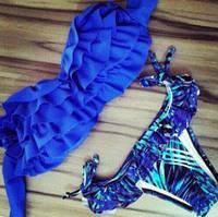 Купальник бандо синий с рюшами