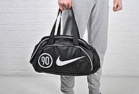 Спортивная сумка женская для фитнеса, спорт зала черная с белым