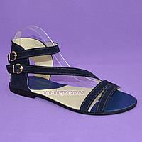 Женские босоножки без каблука с ремешками, натуральная замша синего цвета, фото 1