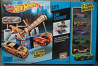 Автомобильная дробилка Hot Wheels, 5 машинок