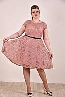 Женское коктельное платье на лето 0296 цвет розовый до 74 размера