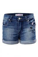 """Шорты джинсовые для девочки, стильные, """"Кошечка"""", Glo-story (Глостори), Венгрия"""