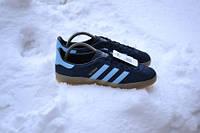 Кроссовки Adidas Gazelle Indoor (темно синие с голубыми полосками) нат.замша