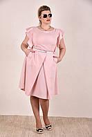 Женское батальное платье на лето 0294 цвет розовый до 74 размера