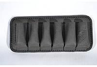Подсумок на 6 патронов для 12, 16 калибров, открытый, кожа -Ретро- черный