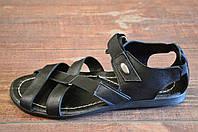 Сандалии черные мужские кожаные Fashion Style на лето ( новинки )