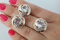 Красивые серебряные украшения - кольцо  и серьги - с крупными цирконами и золотом