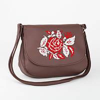 """Женская маленькая сумка из эко-кожи с вышивкой """"Роза"""""""