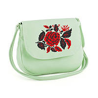 """Женская маленькая сумка из эко-кожи с вышивкой """"Розы"""""""