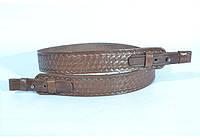 Ремень для ружья прямой тисненый кожаный коричневый