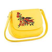 Яркая женская вышитая  кожаная сумка