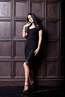 Элегантное трикотажное платье футляр с кружевной юбкой