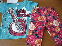 Детский летний комплект футболка и бриджи Гитара для девочки 1-3 года Турция
