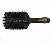 Щетка для волос большая квадратная массажная  деревянная с натуральной щетиной SalonProfessional 7752FM