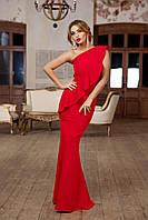 Красное вечернее платье в пол с воланом