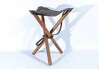 Кожаный раскладной стульчик для охоты высотой 65 см. коричневый