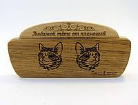 """Расческа в холдере """"Кошечки"""" из натурального дерева подарок"""