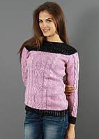 Малиновый свитер с черной вставкой, фото 1