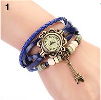 Женские часы с кожаным ремешком под старину с брелком эйфелева башня, купить часы браслет женские (синие)