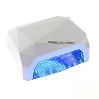 Гибридная УФ-лампа LED+CCFL Diamond 36W для гель-лаков и геля с таймером 10, 30 и 60 сек Цвет Белый