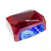 Гибридная УФ-лампа LED+CCFL Diamond 36W для гель-лаков и геля с таймером 10, 30 и 60 сек Цвет Красный
