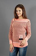Вязанный свитер персикового цвета