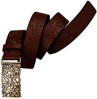 Кожаный оригинальный пояс с ажурной металлической пряжкой 3,2 см. Traum 8826-02, темно-коричневый