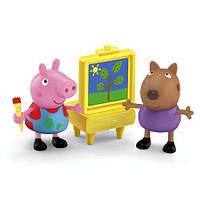 Набор фигурок свинка Пеппа и собачка Денни- занятие рисованием Peppa Pig and Danny Dog Painting Together