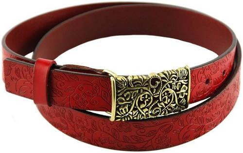 Кожаный интересный пояс с ажурной металлической пряжкой 3,2 см. Traum 8826-03, красный