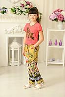 """Летние брюки для девочки """"Цветы"""" (р.32-38)"""