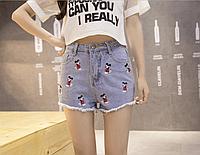 Шорты джинсовые женские с Микки Маусом