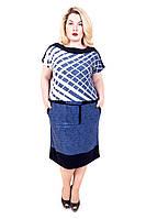 Платье ниже колена большого размера Бабочка джинс сетка