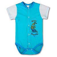 Боди короткий рукав, распашной на кнопках. Бодик для новорожденного, на рост - 62, 68, 74, 80 см. (арт:1-24н-)