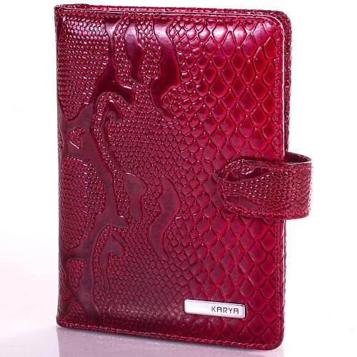Женская яркая кожаная обложка для водительских прав KARYA (КАРИЯ) SHI438-1LAK Красная